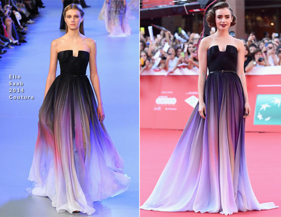 prom dress evening dress lily collins lavender prom dresses