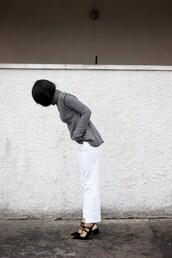 top,tumblr,striped turtleneck,turtleneck,stripes,striped top,jeans,white jeans,shoes,black shoes,slingbacks,mid heel sandals,pointed toe