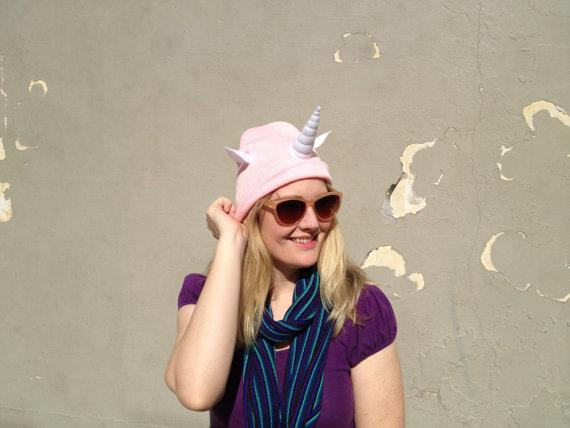Pink unicorn beanie  stuffed horn and ears  by jumbojibbles