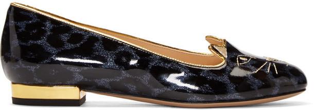 911d710cf Charlotte Olympia Blue Leopard Print Kitty Flats - Wheretoget
