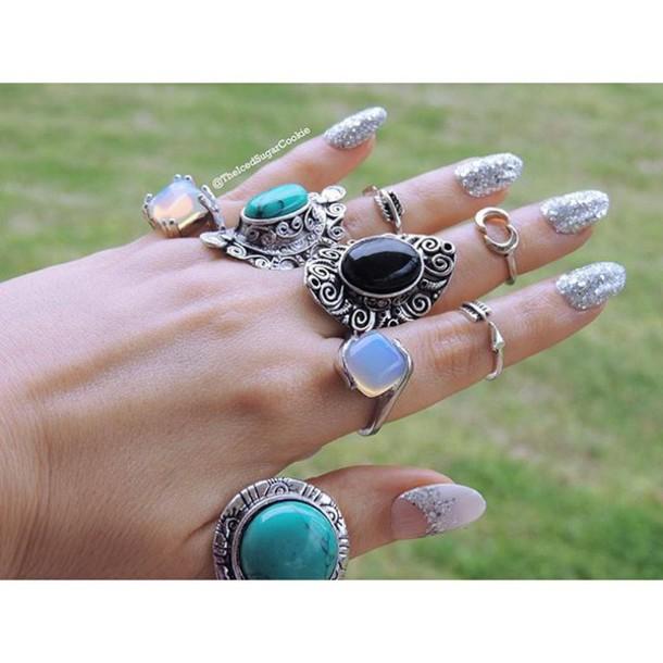 Nail accessories: nails, silver nails, moonstone rings ...