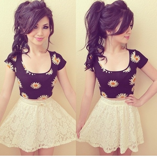 skirt tank top skater skirt crop tops daisy shirt blouse t-shirt daisy top crop tops black white flowers pattern