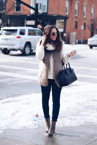 fashionably kay blogger jacket jeans shoes bag sweater faux fur vest handbag turtleneck sweater ankle boots winter outfits