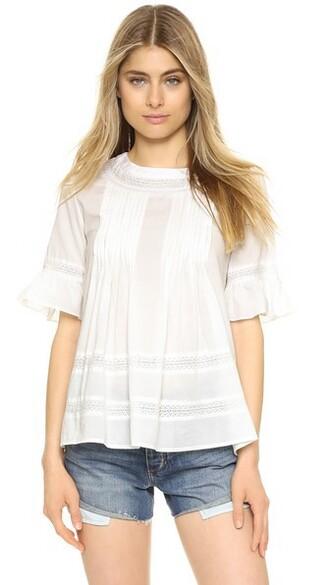 blouse boho lace white top