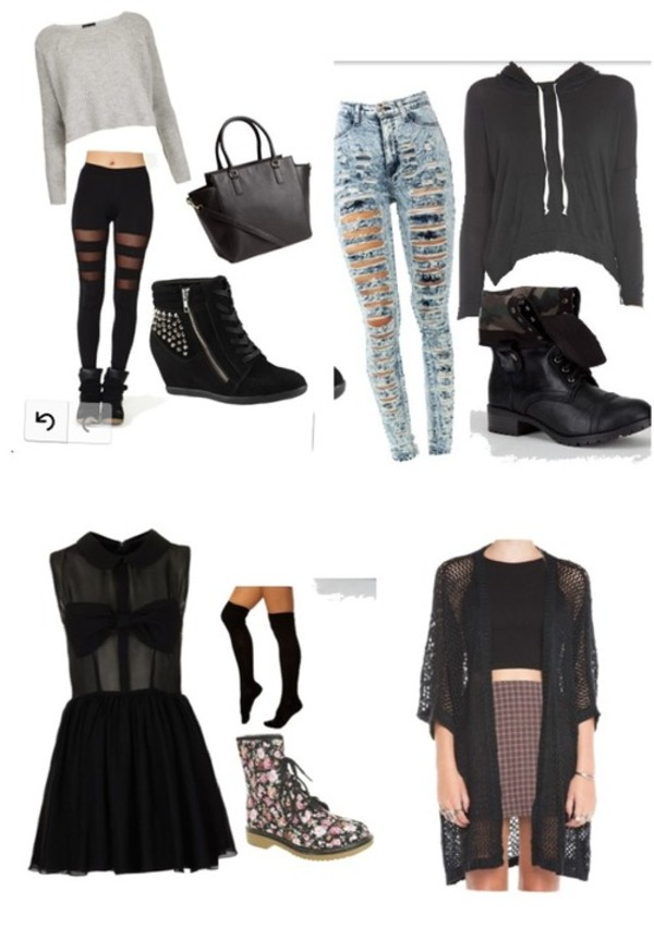 shoes jeans grey crop top sweater black bag black wedge ripped jeans folded combat boots black sweater black dress tights floral boots floral combat boots black lace cardigan pants dress blouse