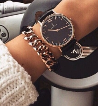jewels watch black gold fashion accessories chic girl car love