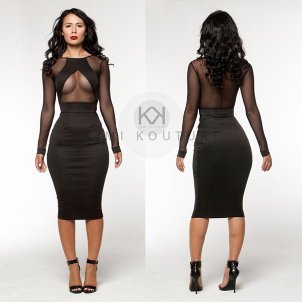 Dress: mesh dress, clubwear, little black dress, cleavage dress ...