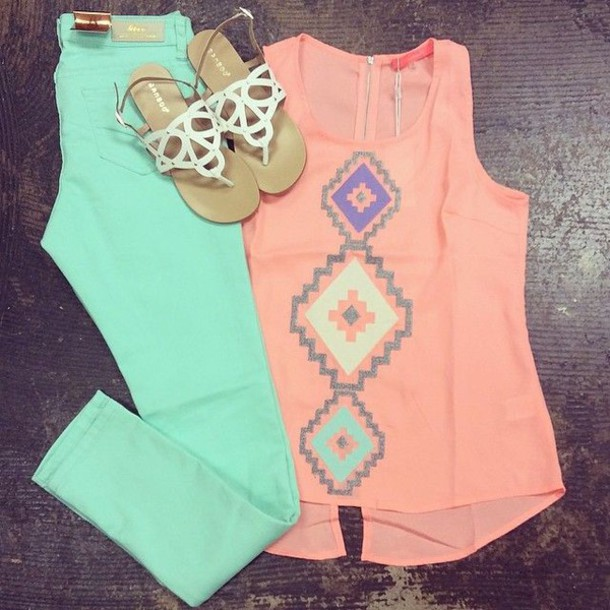 jeans skinny jeans mint skinny jeans shirt peach top aztec top