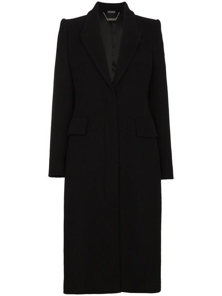 coat women black silk wool