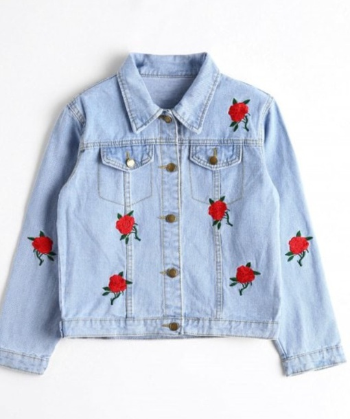 jacket embroidered girly blue denim jacket denim rose roses