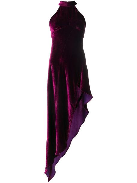 Attico dress women silk velvet purple pink