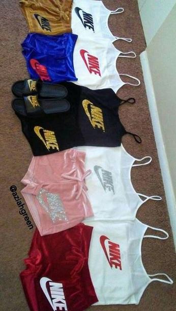 Tank Top Nike Nike Shorts Sparkle Velvet Short White