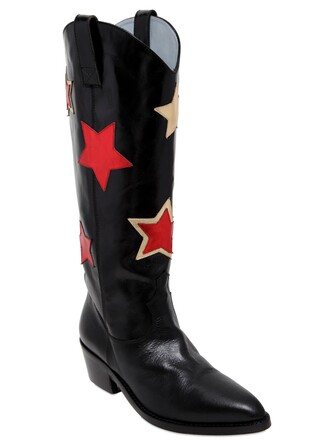 boots leather boots leather stars black red shoes