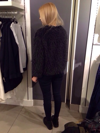 jacket black jacket fluffy black cute coat warm winter outfits fashion store haute couture streetstyle hipster fuzzy coat