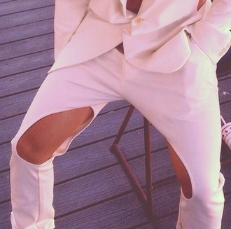 creme pants white pants cut-out exposed knees