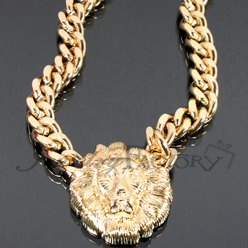 Restocked!! small lion head chain necklace n0050