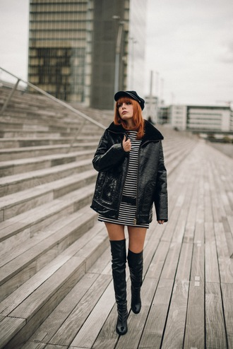 miss pandora blogger fisherman cap black jacket striped dress shirt dress thigh high boots