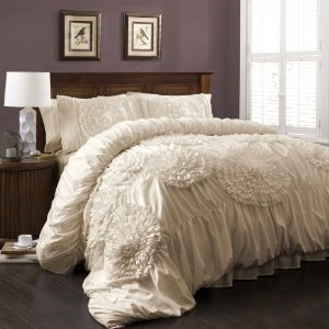 Piece comforter set, queen, ivory