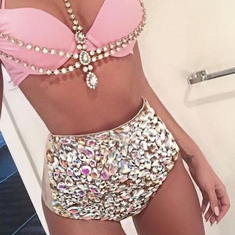 dress everything the same swimwear bikini swimwear two piece pink diamonds jewels cute jewelry sequins rhinestones shiny swimming costume summer