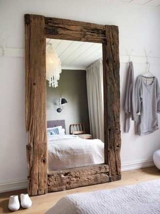 home accessory wood mirror vintage