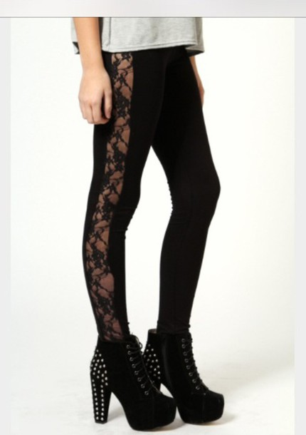 Leggings: style, fashion, lace, lace leggings, chic, black ...