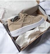 shoes,sneakers,nike,suede,brown,brown shoes,nike air force 1