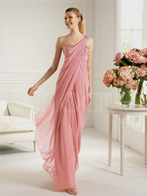 dress pearl pink chiffon prom dress one-shouolder and natural waistline floor length and have sequins