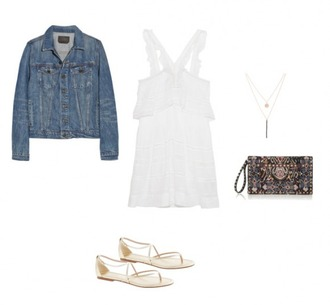 helena bordon blogger bag dress spring outfits flat sandals denim jacket white dress