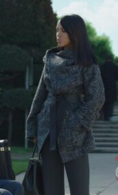 coat,black,tweed,scandal,olivia pope,wool,kerry washington,belt