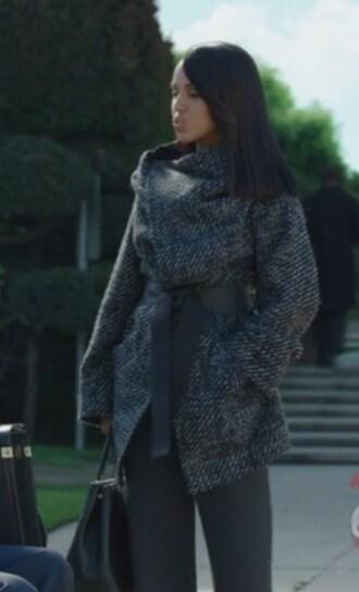 coat black tweed scandal olivia pope wool kerry washington belt