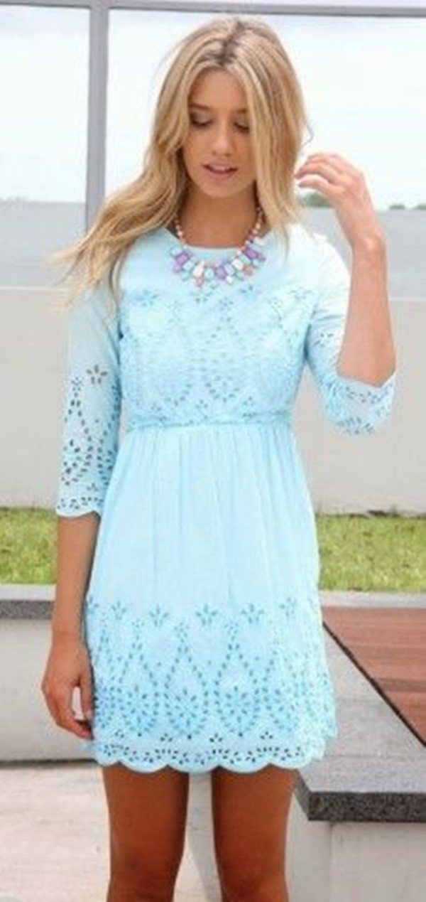 Light Blue Lace Dress With Sleeves image information