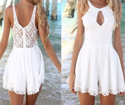 Outletpad | Fashion cut out lace playsuit Jumpsuits White | Online Store Powered by Storenvy