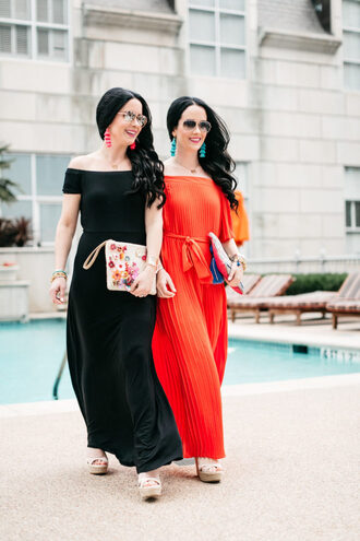 the double take girls blogger dress bag jewels sunglasses maxi dress clutch platform sandals sandals red dress black dress