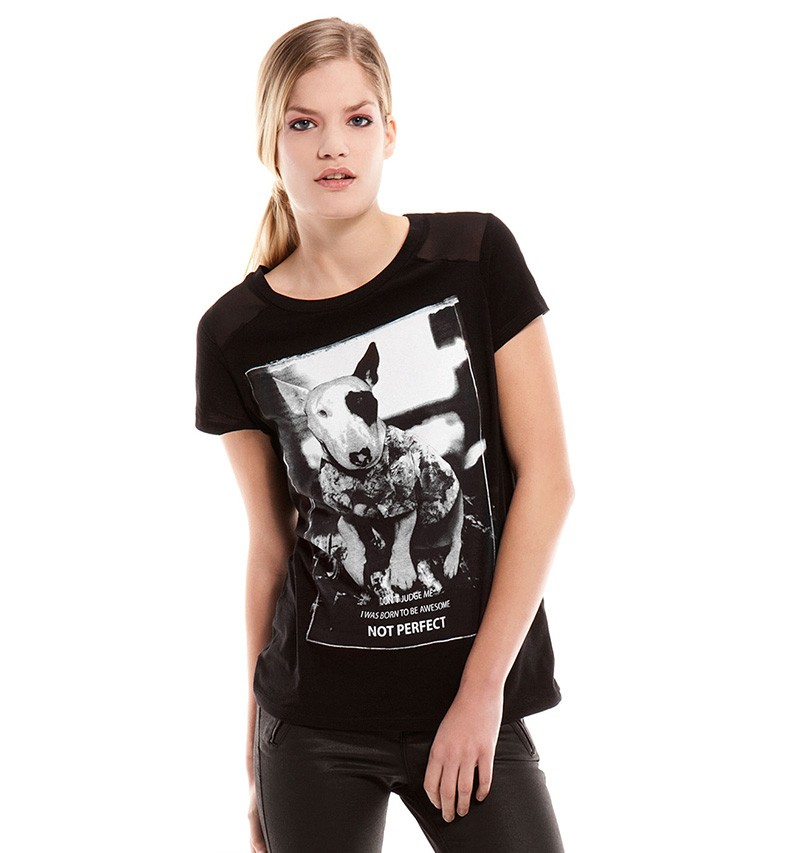 Funny Dog Print T-shirt With Mesh Shoulder Panels