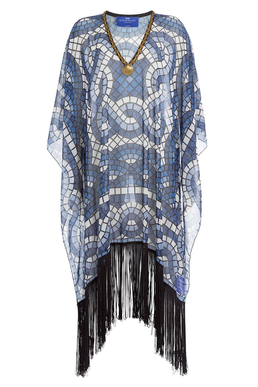 Elena Makri Printed Fringe Tunic  in blue