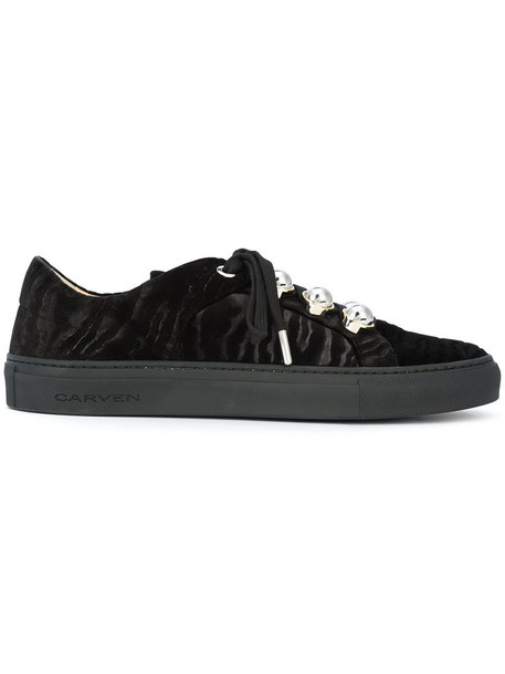 Carven women sneakers leather black shoes