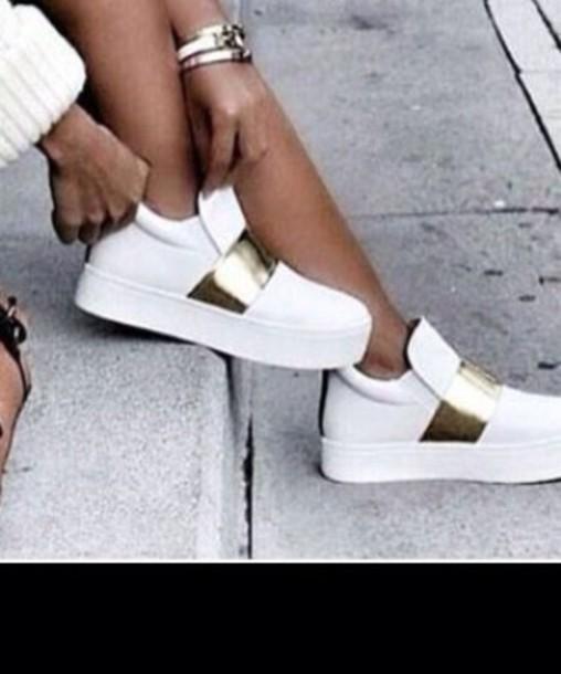 dec7e39f4 shoes white gold dress whte big sweaters grey sneakers white shoes white  and gold shoes white