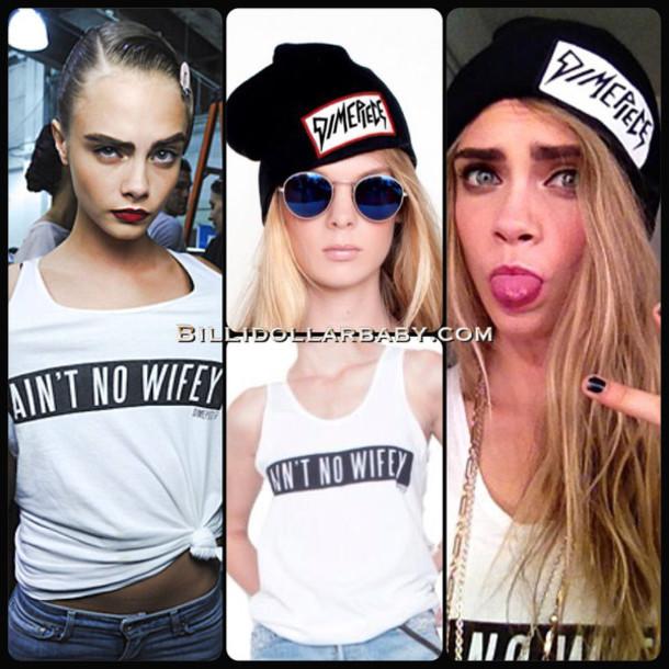 d230a91f50556 shirt beanie cara delevingne dimepiece ain t no wifey blonde hair  sunglasses graphic tee victoria s