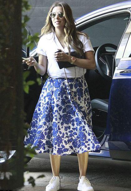 skirt midi skirt sneakers eva longoria top shirt summer outfits