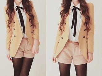 shorts blazer blouse shirt ribbon black jacket colorful belt coat white white blouse top cute korean fashion korean style style cool kawaii girly girl jacket. white shirt jfashion fashion outfit sheer  blose funny