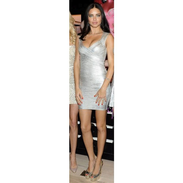 bandage adriana lima bodycon metallic wow herve leger