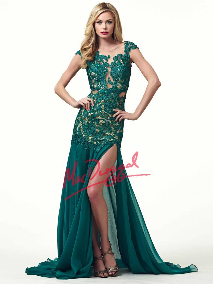 Lace Overlay Evening Gown | Mac Duggal 61041R