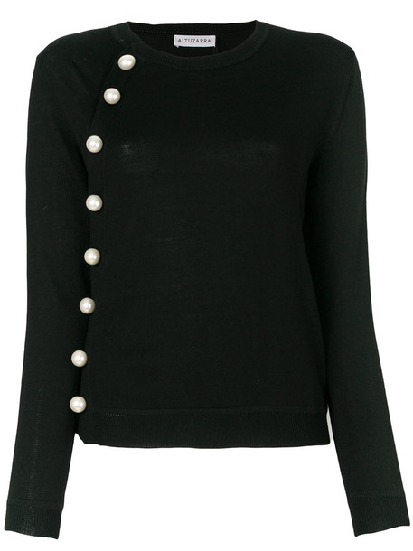 jumper women pearl embellished black sweater