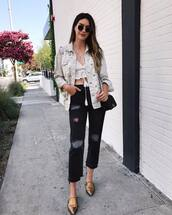 jacket,tumblr,denim jacket,denim,embellished jacket,embellished,jeans,black jeans,cropped jeans,shoes,pointed toe,crop tops,sunglasses