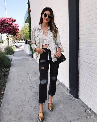 jacket tumblr denim jacket denim embellished jacket embellished jeans black jeans cropped jeans shoes pointed toe crop tops sunglasses