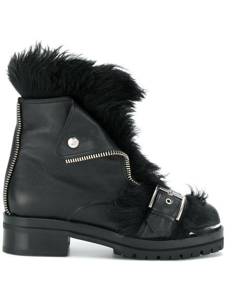 biker boots women leather black shoes