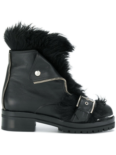 Alexander Mcqueen biker boots women leather black shoes