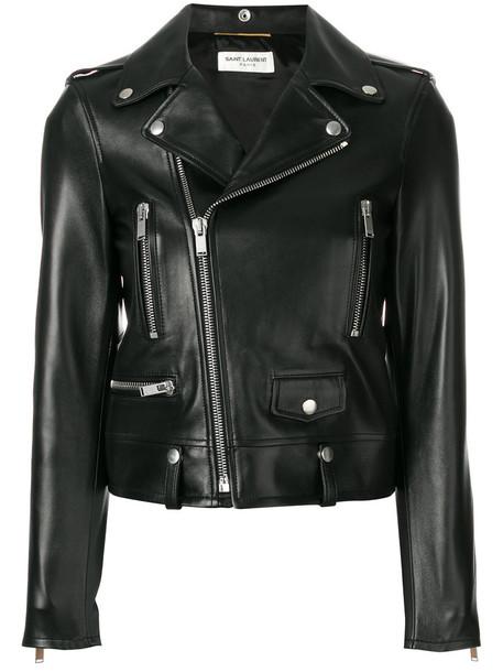 Saint Laurent jacket biker jacket cropped women leather black