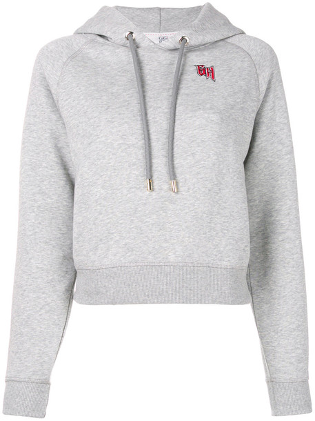 Tommy Hilfiger - Tommy x Gigi embroidered hoodie - women - Cotton/Polyester - XS, Grey, Cotton/Polyester