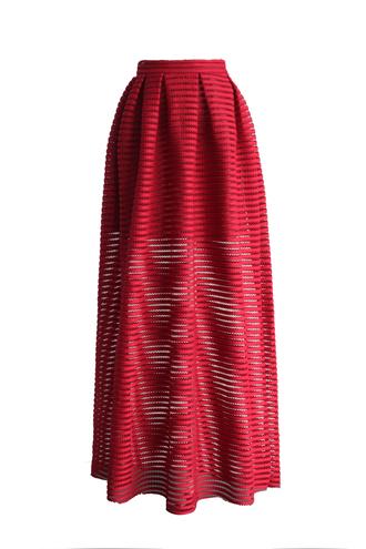 skirt chicwish red skirt stripes skirt maxi skirt cutout skirt spring skirt summer skirt chicwish.com